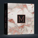 """black monogram on faux rose gold marble binder<br><div class=""""desc"""">elegant marble look binder</div>"""