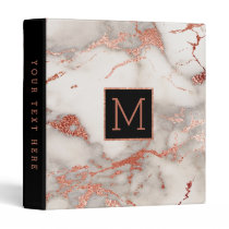black monogram on faux rose gold marble binder