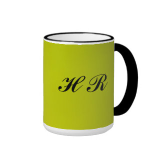 Black Monogram On Green Ringer Coffee Mug