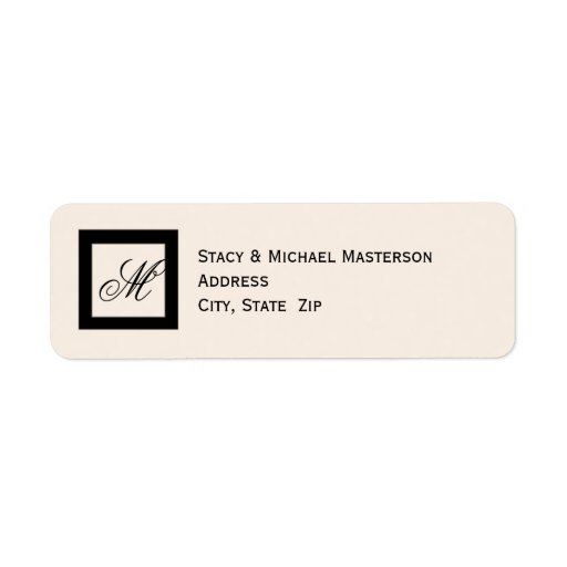 Black Monogram on Linen Color Wedding Label