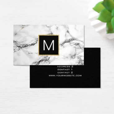 Professional Business black monogram on white marble business card