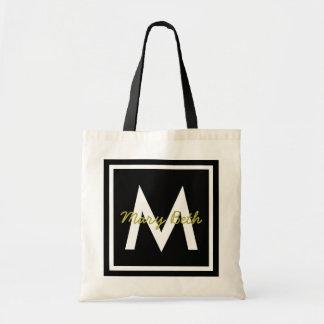 Black Monogram Personalized Tote Bag