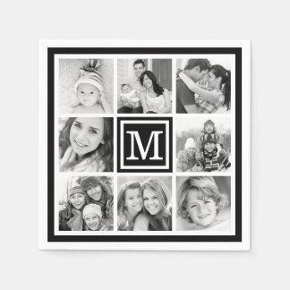 Black Monogram Photo Collage Paper Napkin