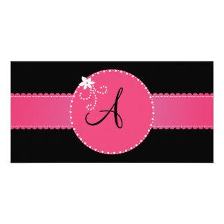 Black monogram pink flower circle and stripe photo card