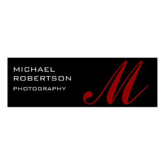 Black Monogram Plain Photographer Business Card