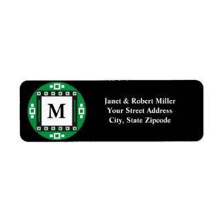 Black Monogram Return Address Labels label