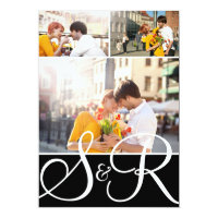 Black Monogram Wedding Three Photo Invitation