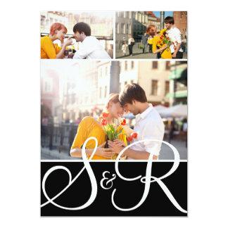 Black Monogram Wedding Three Photo Invitation
