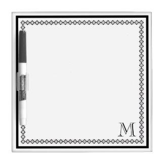 Black Monogram with Decorative Border Dry-Erase Board