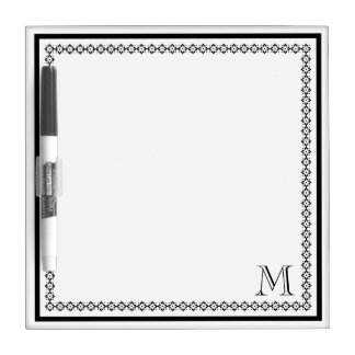 Black Monogram with Decorative Border Dry Erase Whiteboards