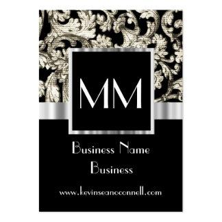 Black monogrammed damask large business cards (Pack of 100)