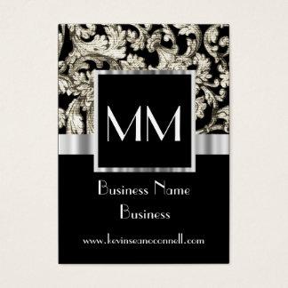 Black monogrammed damask business card