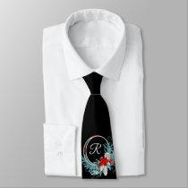 Black Monogrammed Holiday Men's Tie