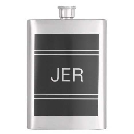 Black Monogrammed Initials Personalized Drink Flask