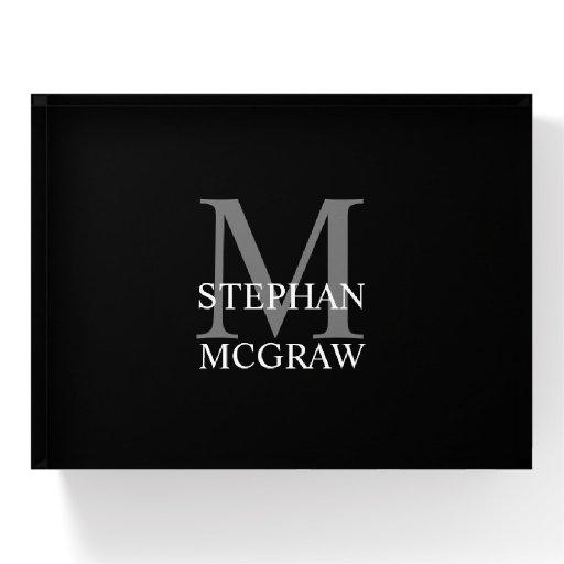Black Monogrammed Paperweight