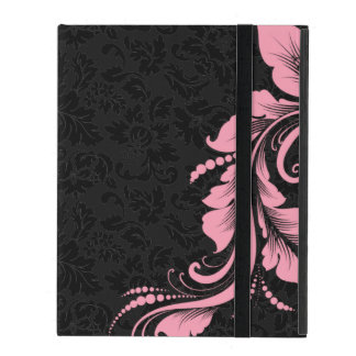 Black Monotones Damask And Pink Floral Lace iPad Covers
