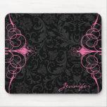 Black Monotones Floral Damasks & Pink Frame Mousepad