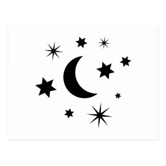 Black Moon & Stars Postcard