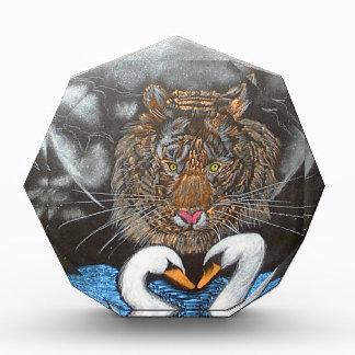 Black Moon Tiger Swans Design Acrylic Award