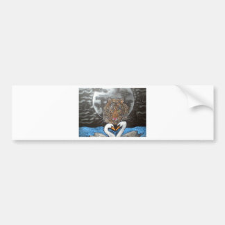 Black Moon Tiger Swans Design Bumper Sticker