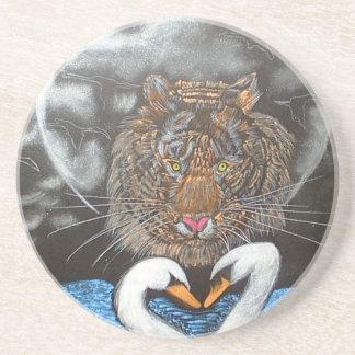 Black Moon Tiger Swans Design Coaster