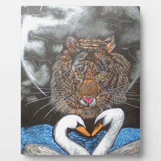 Black Moon Tiger Swans Design Plaques