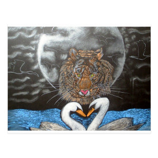 Black Moon Tiger Swans Design Postcard