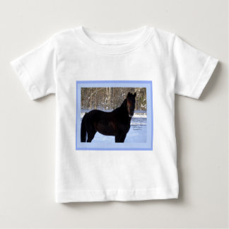 Black Morgan horse in snow Baby T-Shirt
