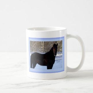 Black Morgan horse in snow Mug