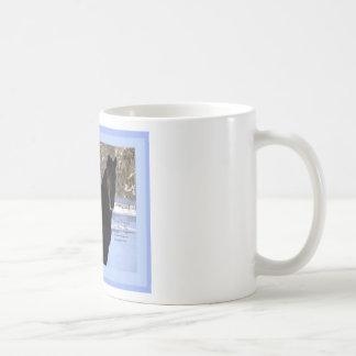 Black Morgan horse in snow Coffee Mugs