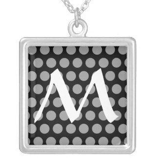 Black Moroccan Dots with monogram Silver Plated Necklace