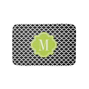 Black Moroccan Pattern With Lime Green Monogram Bath Mat