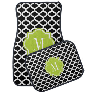 Black Moroccan Pattern with Lime Green Monogram Car Mat