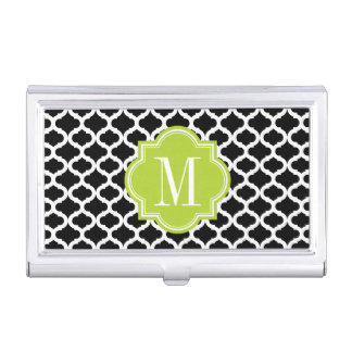 Black Moroccan Pattern with Lime Green Monogram Case For Business Cards