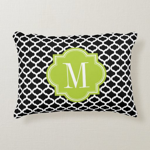 Black Moroccan Pattern with Lime Green Monogram Decorative Pillow Zazzle
