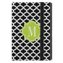 Black Moroccan Pattern with Lime Green Monogram iPad Mini Case