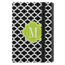 Black Moroccan Pattern with Lime Green Monogram iPad Mini Cover