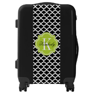 Black Moroccan Pattern with Lime Green Monogram Luggage