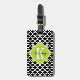 Black Moroccan Pattern with Lime Green Monogram Luggage Tag