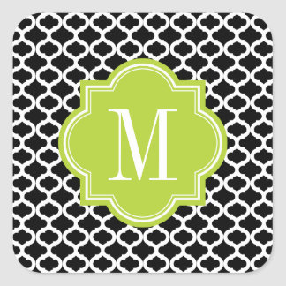 Black Moroccan Pattern with Lime Green Monogram Square Sticker