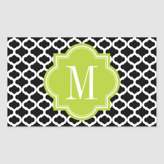 Black Moroccan Pattern with Lime Green Monogram Rectangle Sticker