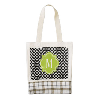 Black Moroccan Pattern with Lime Green Monogram Zazzle HEART Tote Bag