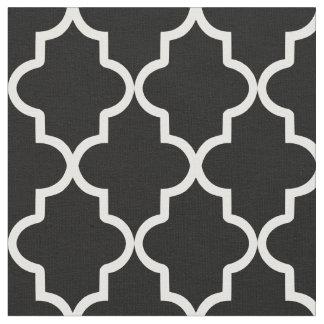 Black Moroccan Quatrefoil Fabric