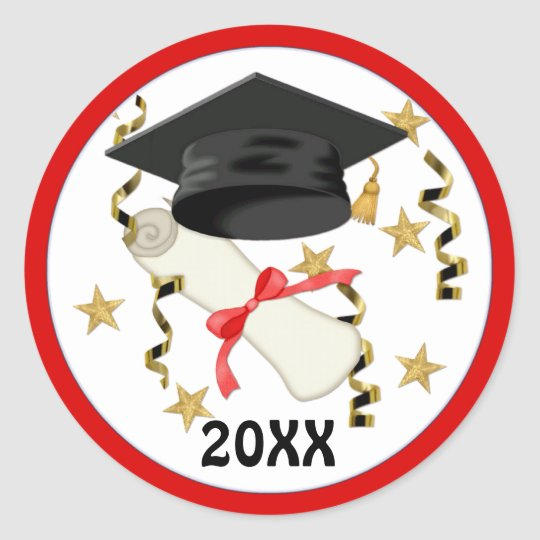Black Mortar and Diploma Graduation Classic Round Sticker