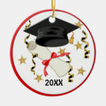 Black Mortar and Diploma Graduation Double-Sided Ceramic Round Christmas Ornament