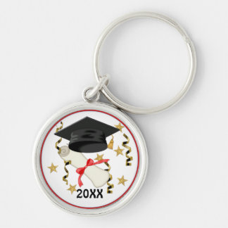 Black Mortar and Diploma Graduation Silver-Colored Round Keychain