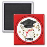 Black Mortar and Diploma Graduation 2 Inch Square Magnet