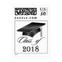 Black Mortar cap on white background Class od 2018 Postage