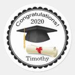 Black Mortar, diploma Your name Graduation Sticker