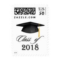 Black mortar, graduation class of 2018 postage